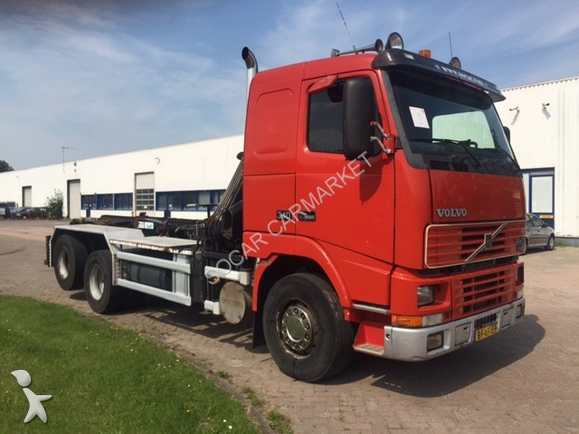 Camion volvo porte containers fh 12 340 hiab kraan 6x2 - Camion porte container avec grue occasion ...