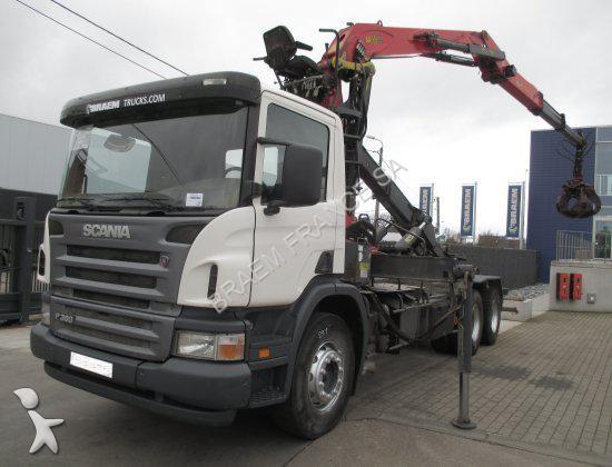Camion scania porte containers p380 6x4 epsilon e140z 6x4 - Camion porte container avec grue occasion ...