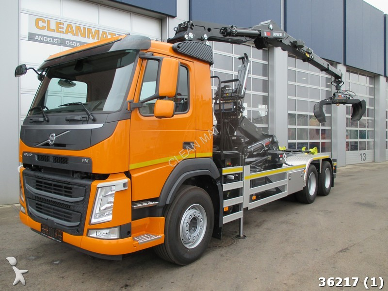 camion volvo polybenne fm 410 6x4 hiab 19 ton meter kran. Black Bedroom Furniture Sets. Home Design Ideas