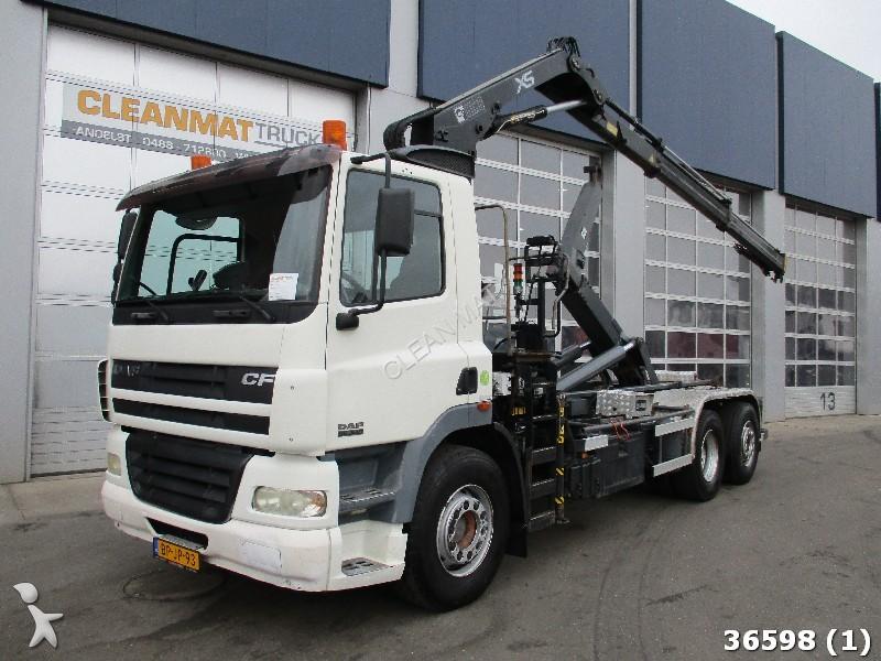camion daf polybenne 85 fan cf 340 6x2 hiab 12 ton meter kran 6x2 gazoil euro 3 occasion n 1798115. Black Bedroom Furniture Sets. Home Design Ideas
