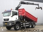 camion MAN TGS 26.360 6x6 CRANE + 2 SIDE TIPPER / SPRING /
