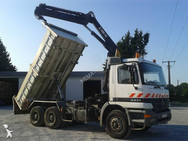used mercedes actros two way side tipper truck cif 3331 ak 6x4 diesel euro 2 crane n 1039671. Black Bedroom Furniture Sets. Home Design Ideas