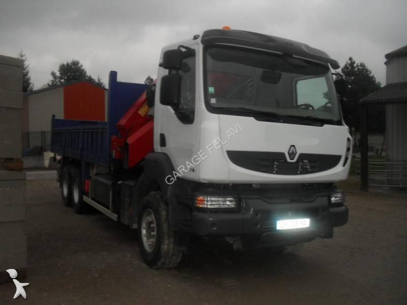 camion renault benne kerax 370 dxi 6x4 gazoil euro 4 grue