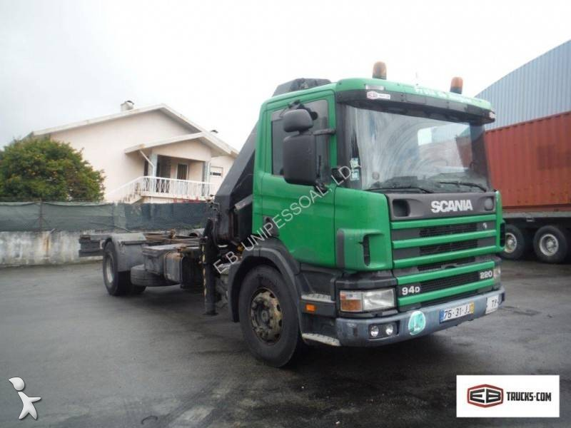 Camion scania porte containers p 94p220 4x2 gazoil euro 2 - Camion porte container avec grue occasion ...