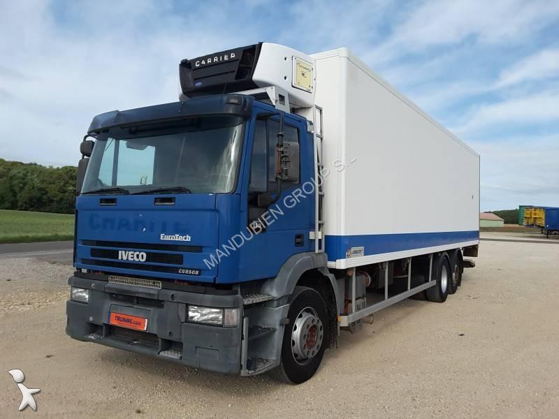 camion iveco frigo carrier eurotech cursor 350 6x2 gasolio euro 3 sponda usato n 1756580. Black Bedroom Furniture Sets. Home Design Ideas