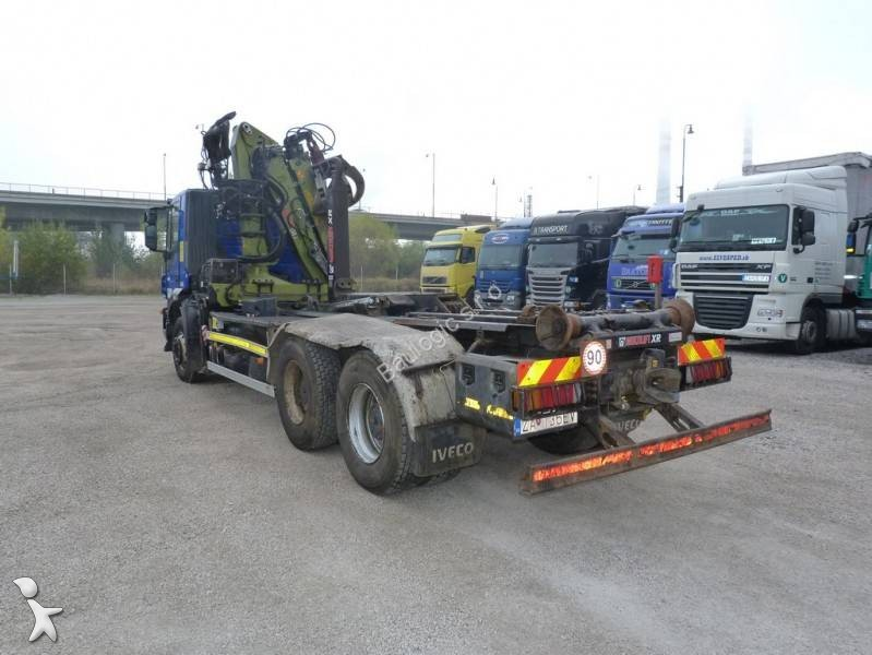 Camion iveco porte containers trakker at 260 t 45 6x4 - Camion porte container avec grue occasion ...