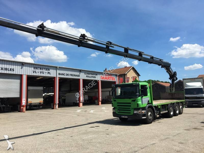 Camion scania plateau p 380 8x4 gazoil euro 4 grue for Garage martel grigny
