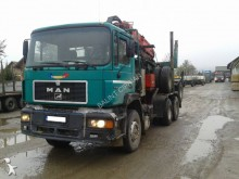 camion cu remorca transport buşteni MAN second-hand