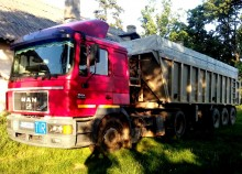 camion cu remorca cu prelata si obloane camion platforma cu prelata si obloane MAN second-hand