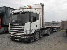 camión remolque caja abierta Scania usado