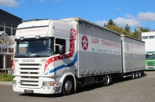used Scania sliding tarp system trailer truck