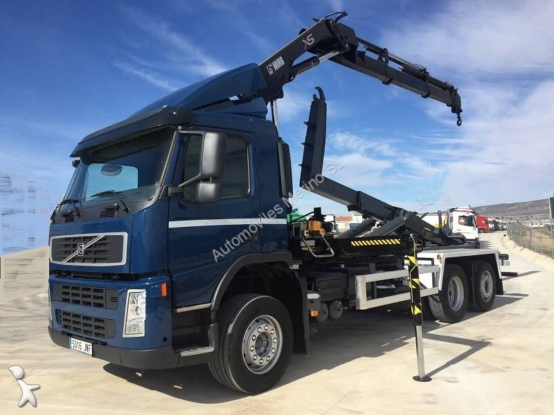 Camion volvo porte containers fm 400 6x2 gazoil euro 4 - Camion porte container avec grue occasion ...