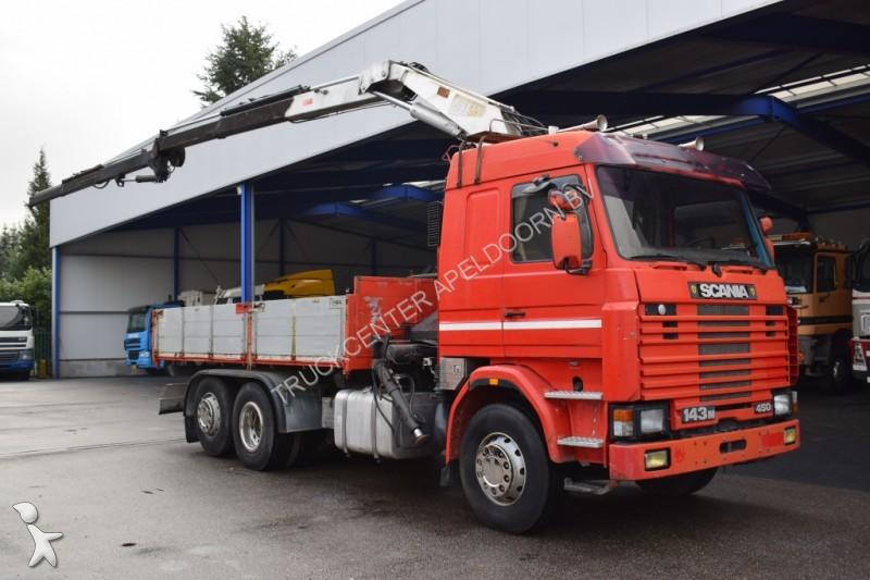 camion scania plateau 143 450 v8 18 t m stern manuel 6x2 6x2 gazoil grue occasion n. Black Bedroom Furniture Sets. Home Design Ideas