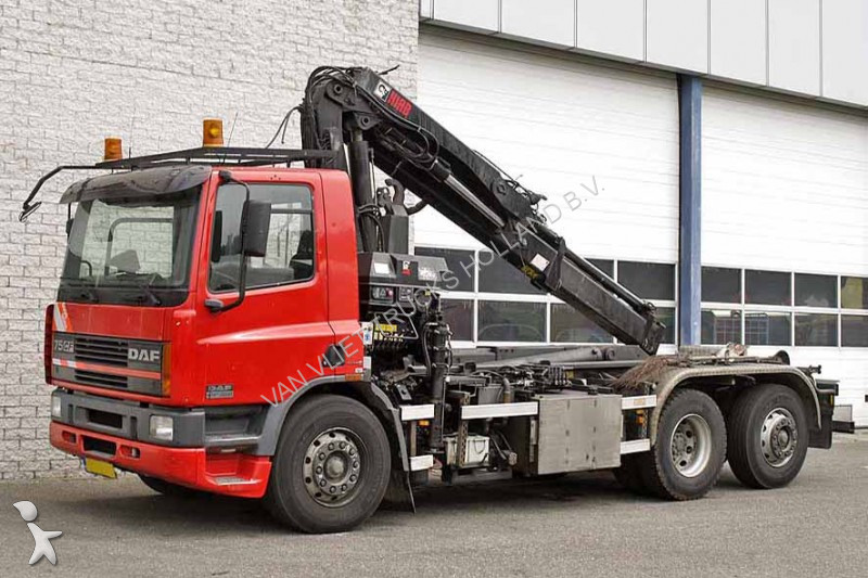 Camion daf porte containers cf75 250 6x2 gazoil euro 3 - Camion porte container avec grue occasion ...