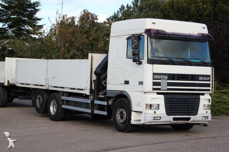 used daf xf flatbed truck 480 6x2 diesel euro 3 crane n 2251685. Black Bedroom Furniture Sets. Home Design Ideas
