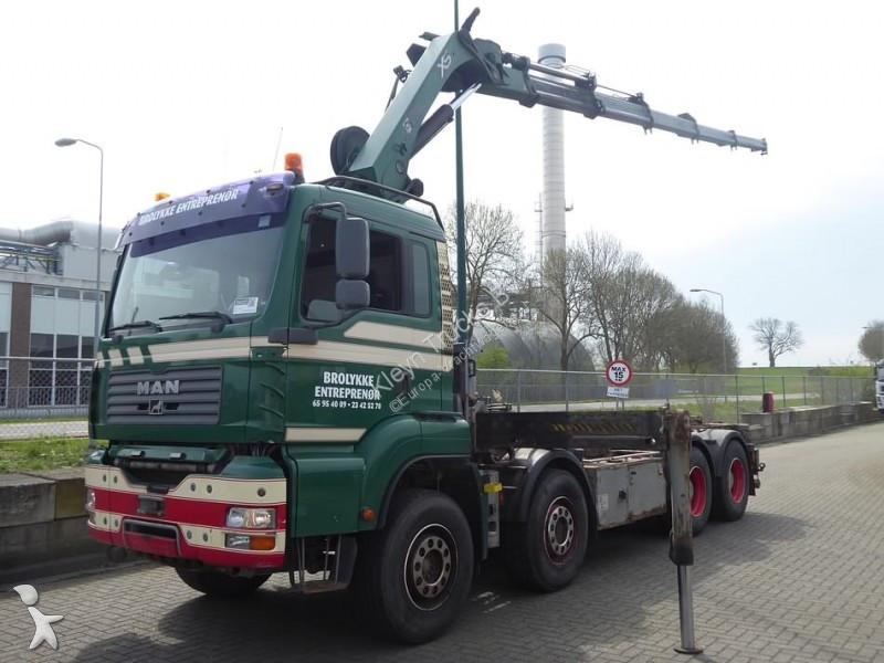 Camion man porte containers hiab 244ep 5 rad 8x4 - Camion porte container avec grue occasion ...
