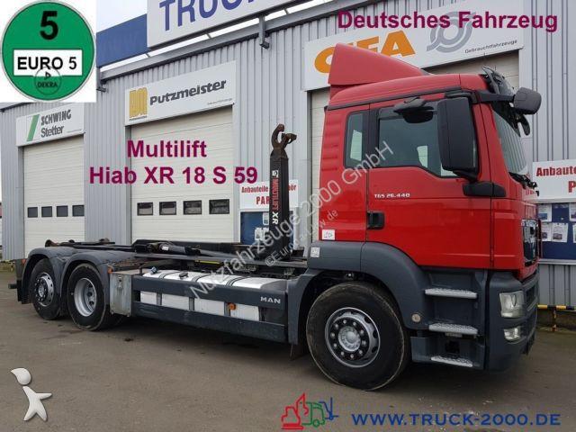 used man skip truck tgs multilift 15t nutzlast deutscher lkw 6x2 diesel euro 5 n 2370456. Black Bedroom Furniture Sets. Home Design Ideas
