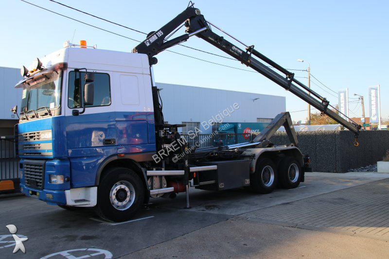 Camion daf porte containers xf95 6x4 gazoil euro 2 grue - Camion porte container avec grue occasion ...