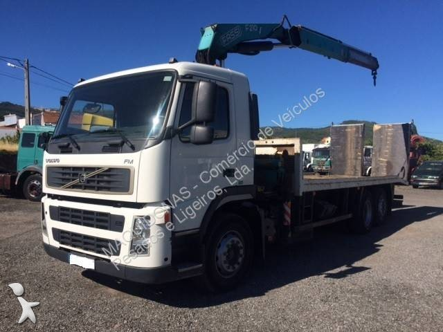 Camion porte engins occasion volvo fm 300 gazoil grue - Camion porte container avec grue occasion ...