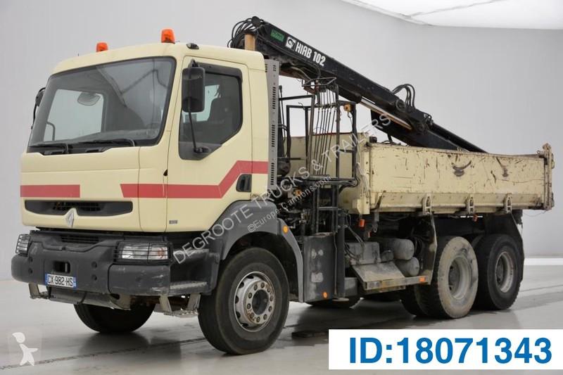Used Renault Kerax two-way side tipper truck 400 6x4 Diesel Euro 2 crane -  n°2854756