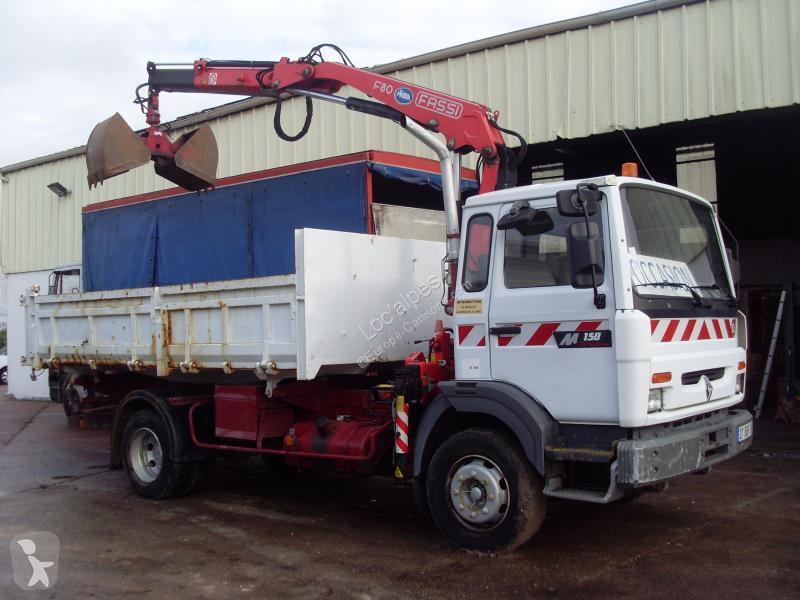 location camion renault benne midlum 150 4x2 gazoil euro 2 grue occasion n 2929172