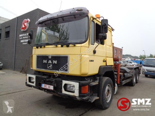na stopach o super tanie najniższa cena Ciężarówka MAN do transportu kontenerów 27.342 palfinger pk 8000 + hook 6x4  Euro 2 dźwigi używany - n°3203711