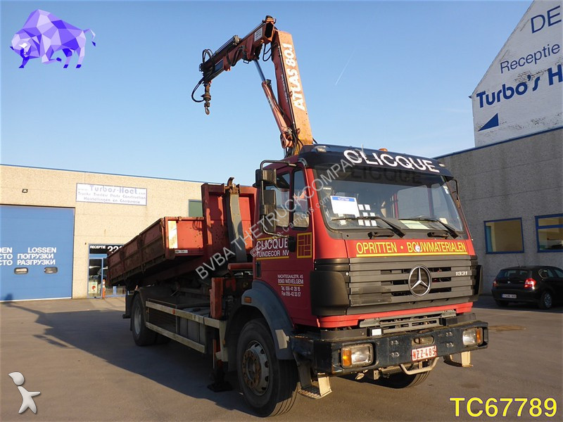 Camion mercedes porte containers sk 1831 4x2 euro 1 grue - Camion porte container avec grue occasion ...