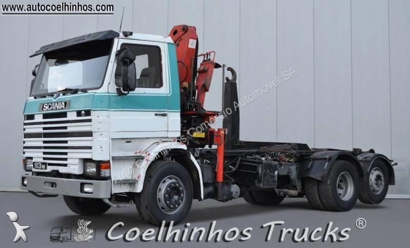 Camion scania porte containers m 113m360 6x2 gazoil euro 0 - Camion porte container avec grue occasion ...