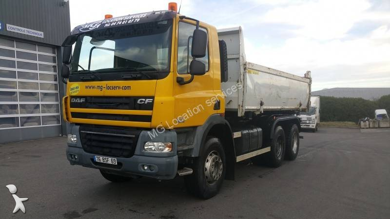 used rental daf cf two way side tipper truck marrel 360 6x4 diesel euro 4 n 2411731. Black Bedroom Furniture Sets. Home Design Ideas