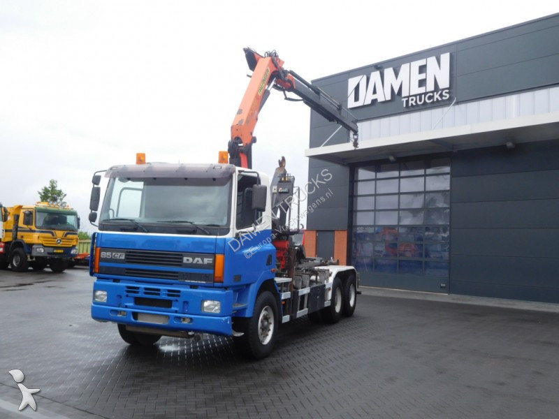 Camion daf porte containers cf 6x4 gazoil euro 3 - Camion porte container avec grue occasion ...