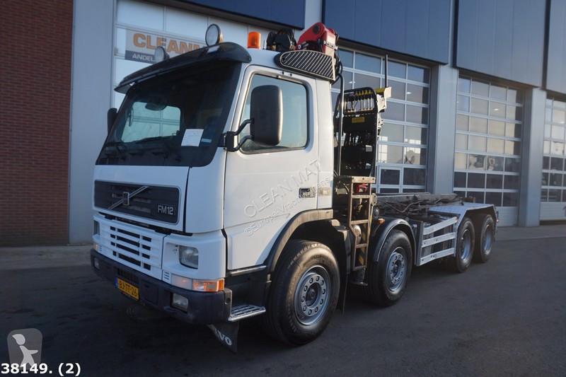 Camion volvo porte containers fm12 8x4 gazoil euro 2 grue - Camion porte container avec grue occasion ...