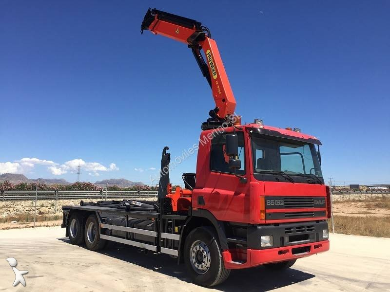 Camion daf porte containers cf 6x2 gazoil euro 2 - Camion porte container avec grue occasion ...