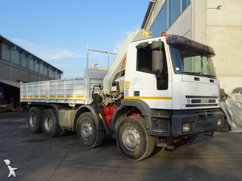 Camion iveco ribaltabile eurotrakker 340e35 8x4 euro 2 gru for Effretti usato