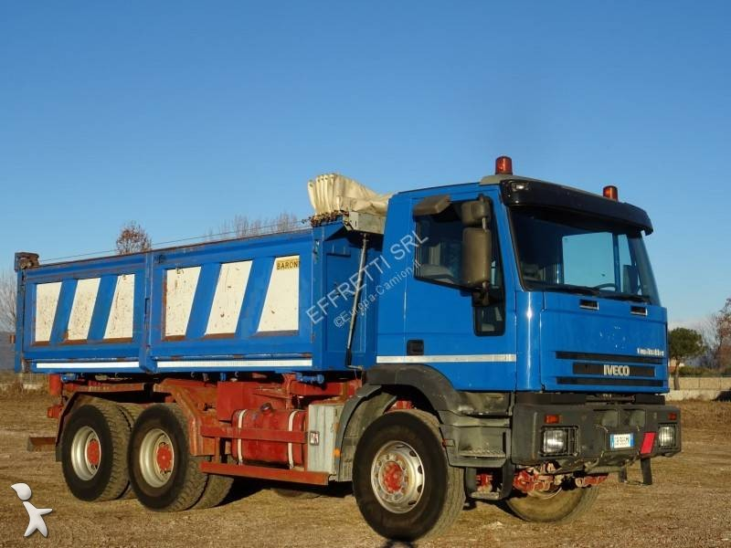 used iveco eurotrakker three way side tipper truck 380e44