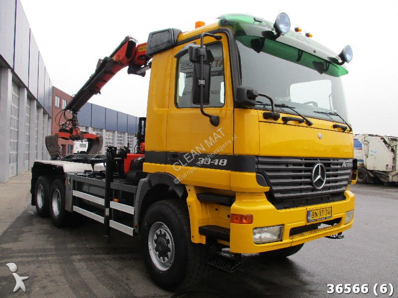 Camion mercedes porte containers actros 3348 6x6 gazoil - Camion porte container avec grue occasion ...