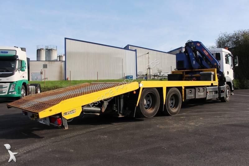 Camion porte engins occasion man tgs gazoil grue annonce - Camion porte container avec grue occasion ...