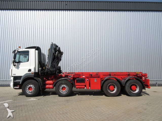 Camion daf porte containers cf85 8x4 gazoil euro 5 grue - Camion porte container avec grue occasion ...