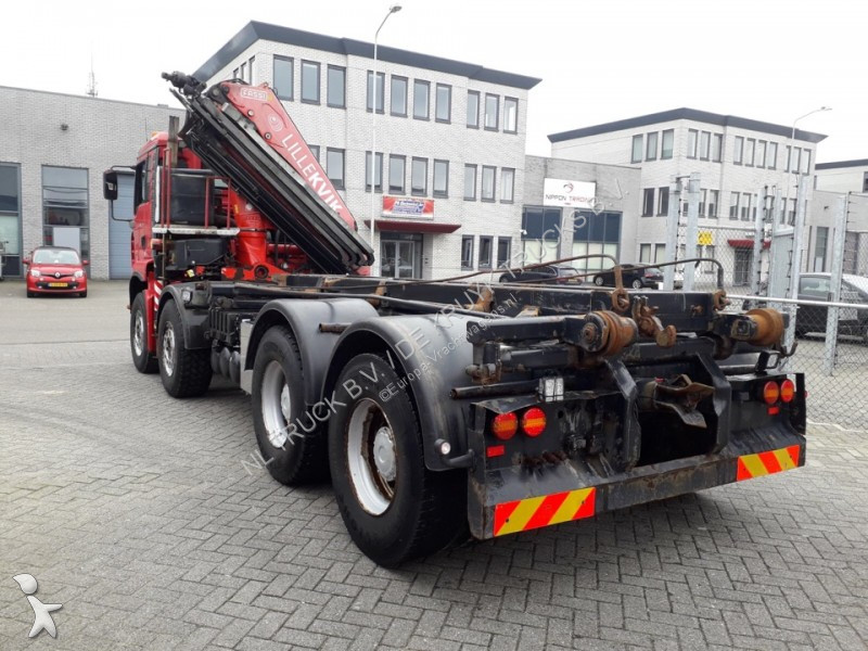 Camion man porte containers manual steel fassi 8x4 - Camion porte container avec grue occasion ...