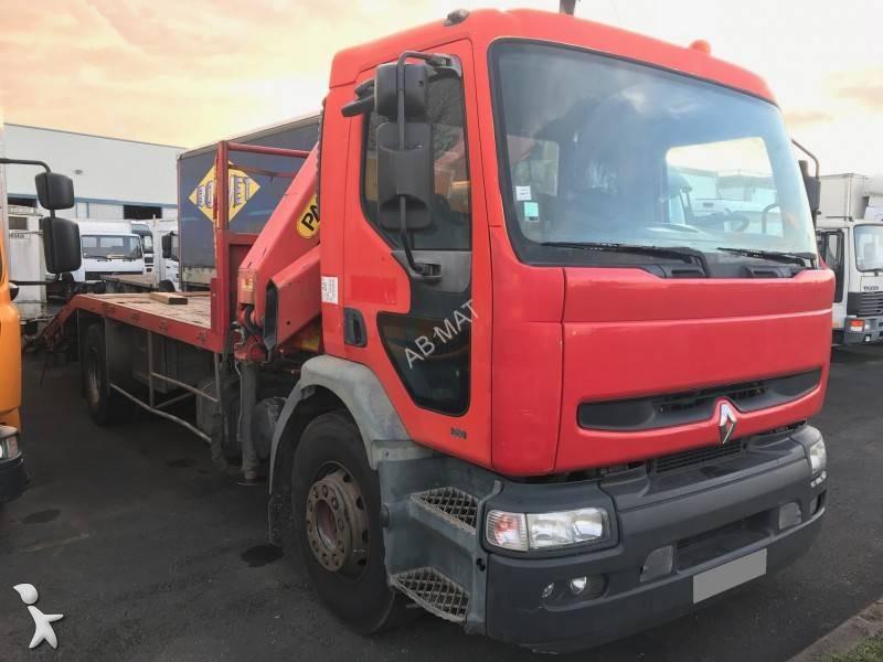 Camion porte engins occasion renault premium 250 gazoil - Camion porte container avec grue occasion ...