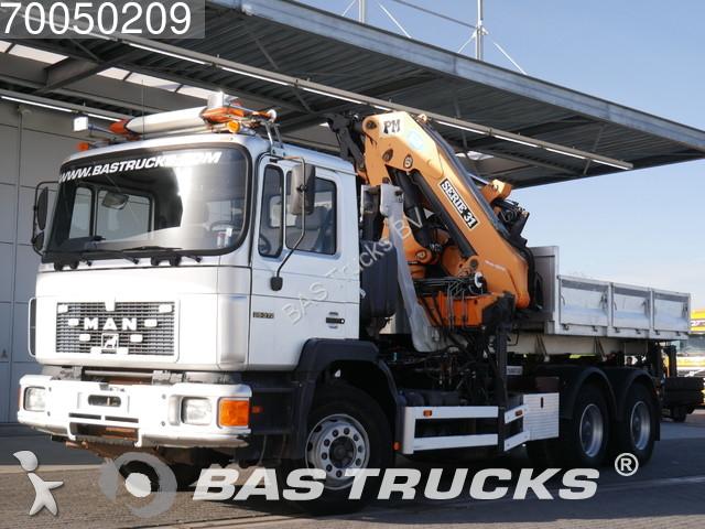 Camion man porte containers f90 6x4 gazoil euro 1 grue - Camion porte container avec grue occasion ...