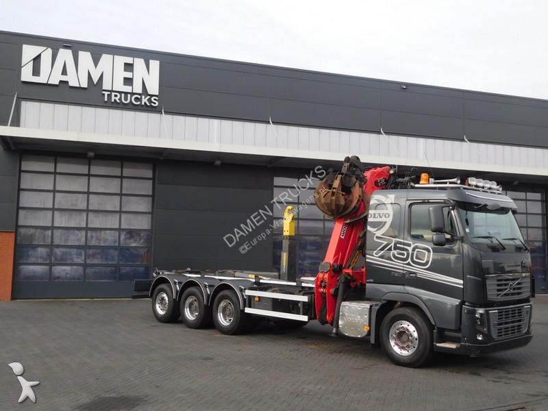 Camion volvo porte containers fh16 8x4 gazoil euro 5 grue - Camion porte container avec grue occasion ...