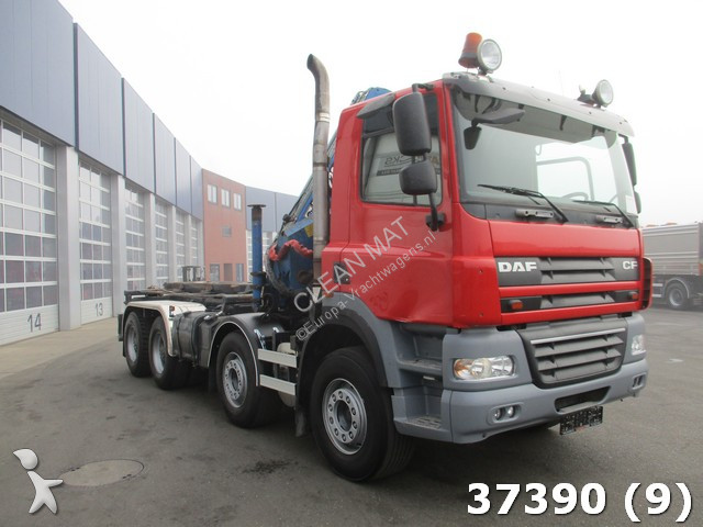 Camion daf porte containers cf 460 8x4 gazoil euro 5 grue - Camion porte container avec grue occasion ...