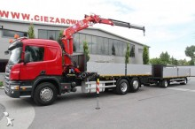 camion remorque plateau ridelles Scania