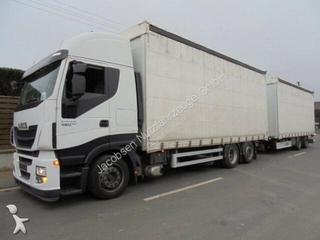 Camion remorque Iveco Stralis 460HiWay*EEV*Fliegl Jumbo*Stapleraufnahm