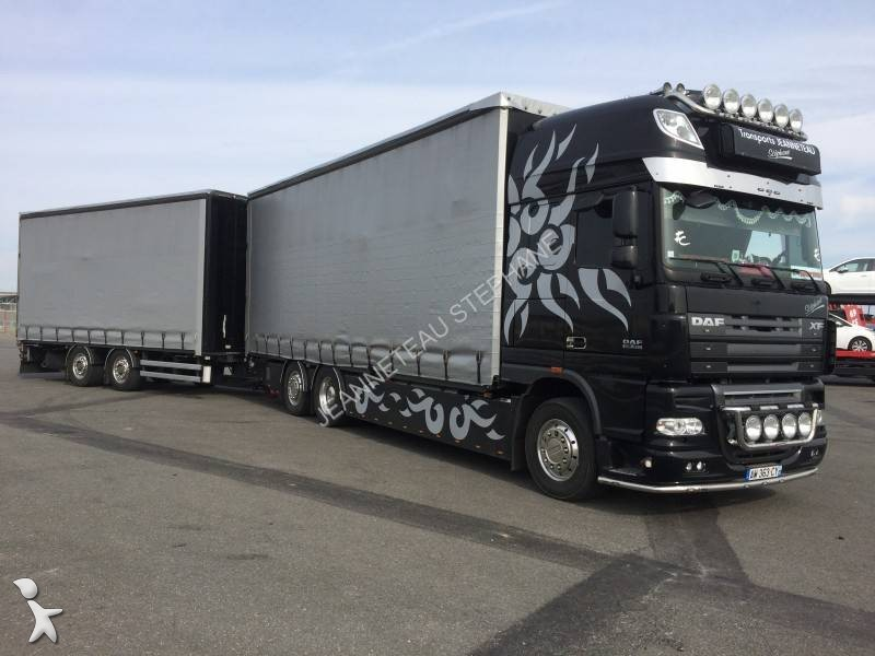 camion remorque daf rideaux coulissants plsc xf105 510 6x2 gazoil euro 5 occasion n 1473538. Black Bedroom Furniture Sets. Home Design Ideas