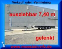 Meusburger 3 Achs Tele Auflieger, 7,40 m ausziehbar, gelen heavy equipment transport