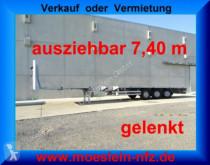 porte engins Meusburger MPS-3 3 Achs Tele- Sattelauflieger, 7,40 m auszi