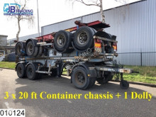 Asca Container 3 x 20 FT Container chassis + 1 x Dolly, Steel suspension semi-trailer
