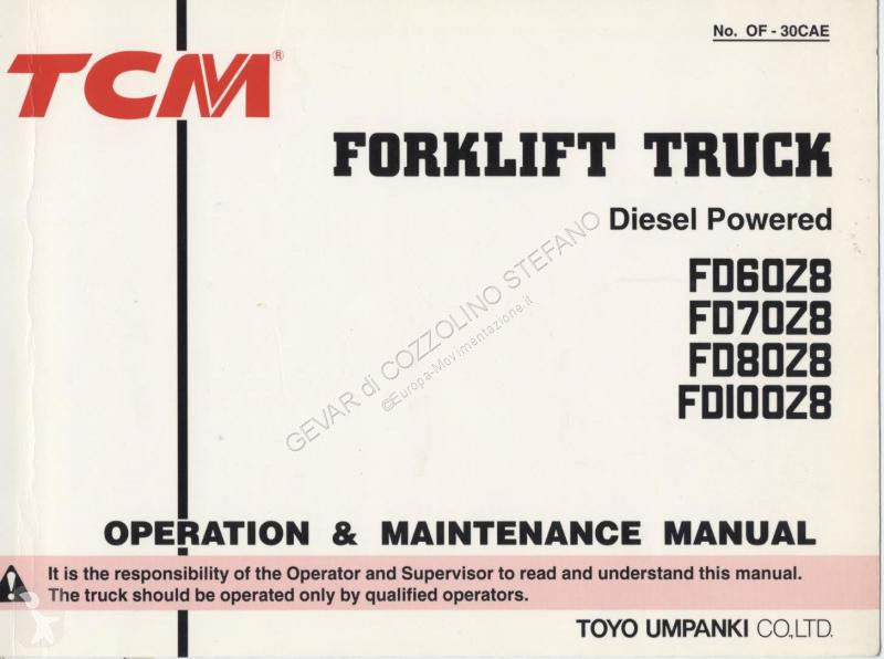 Ricambio per mezzi di movimentazione  TCM FD60-70.80-100Z8 OPERATION MANUAL